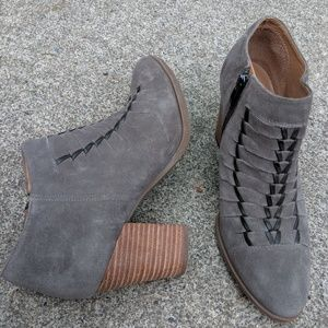 Franco Sarto Taupe Grey Leather Zip Up Booties 9M